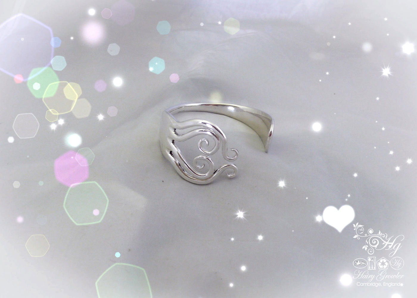 Handcrafted and repurposed true love heart bangle