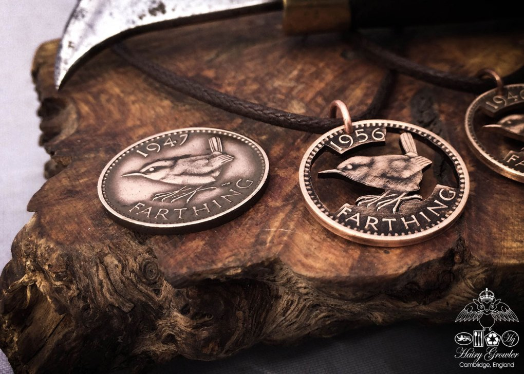 Jenny wren coin jewellery Hand cut Jenny Wren Farthing coin pendant necklace made in the Hg workshop