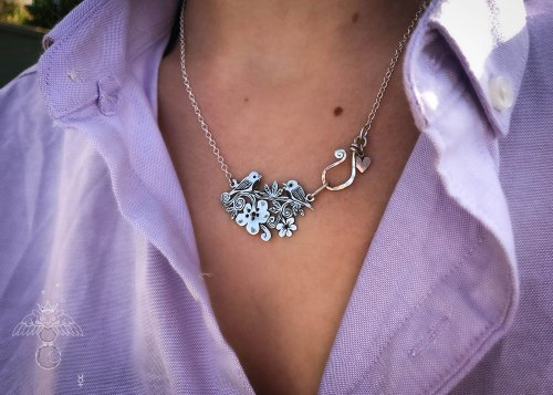 Cute bird necklace - handmade, ethical and recycled from silver shillings.