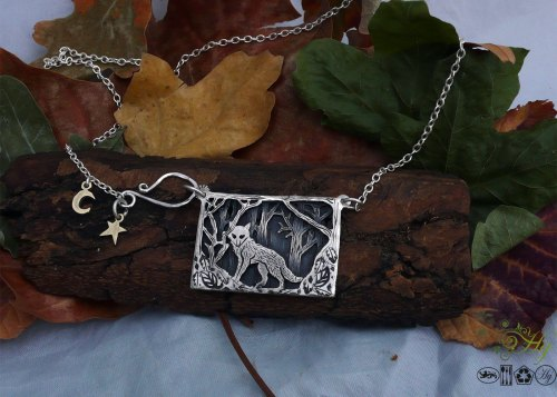 Handmade and recycled sterling silver half-crowns lone wolf necklace