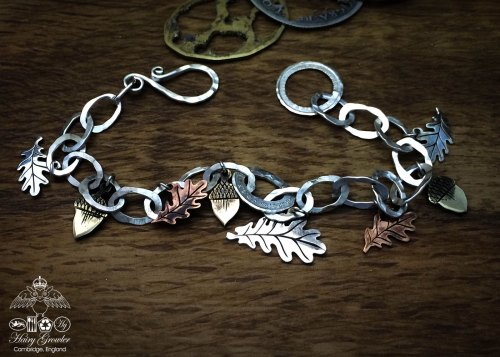 Recycled sterling silver Oak leaf and acorns bracelet made from coins