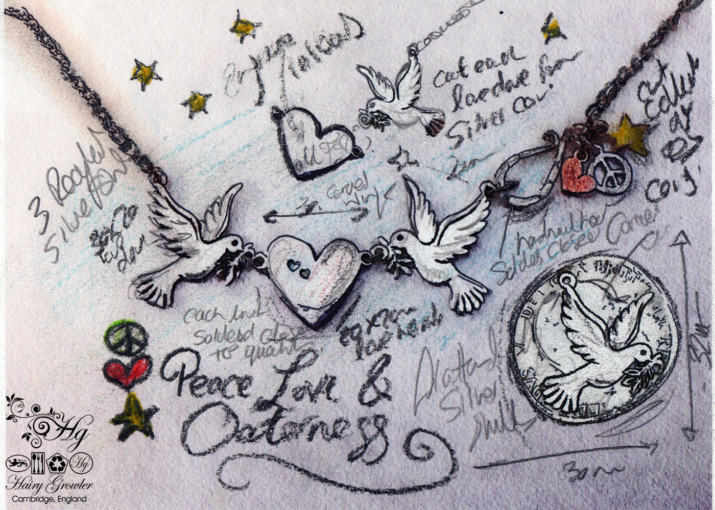 handmade and recycled silver coin love, peace and outerness dove necklace
