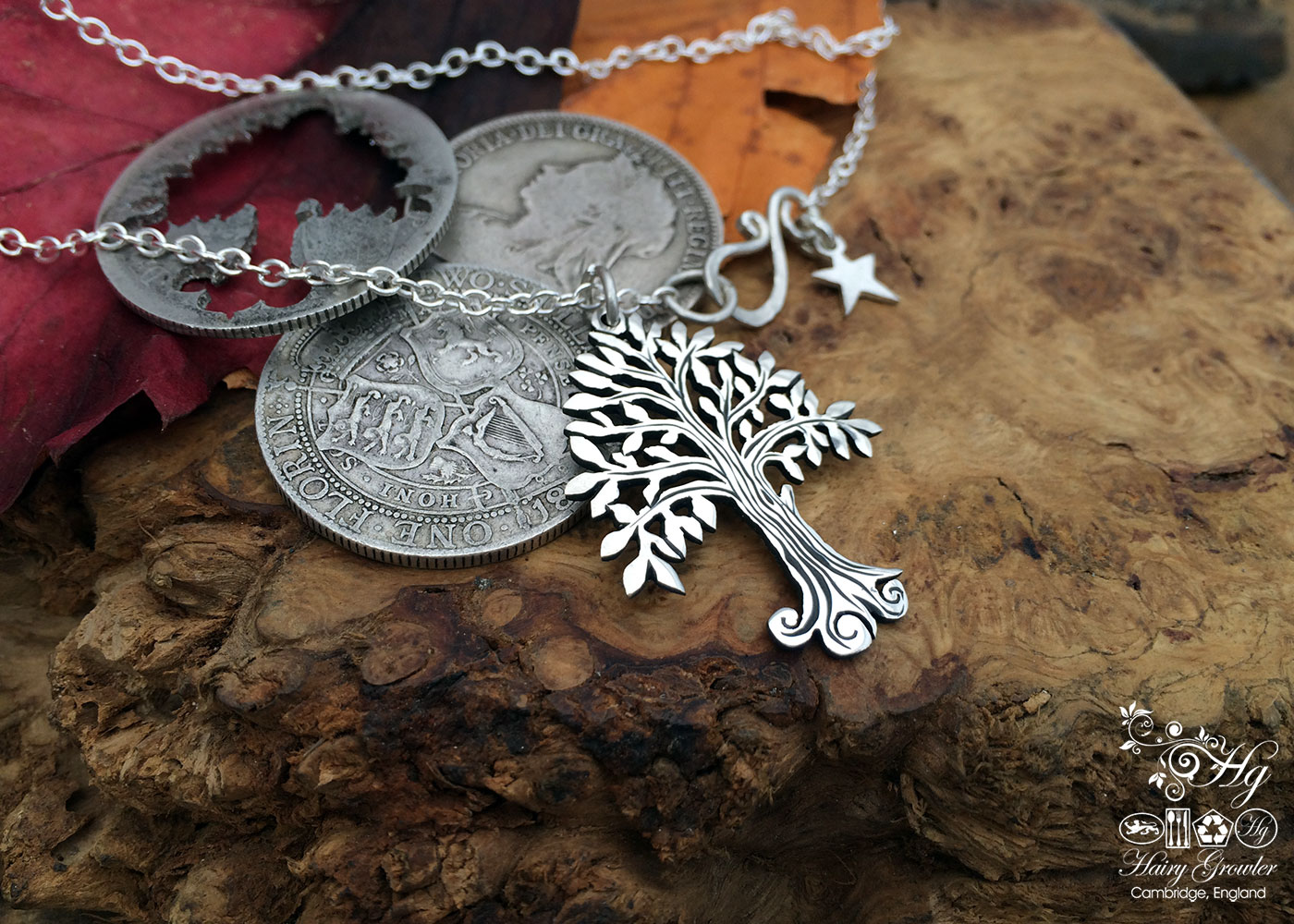 Handcrafted and recycled silver Willow tree necklace