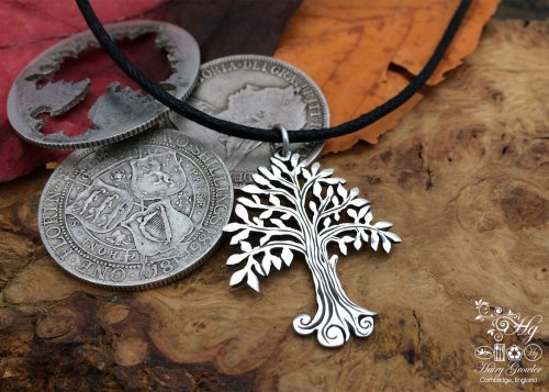 Willow tree necklace Handmade and repurposed silver Willow tree necklace being made in the workshop