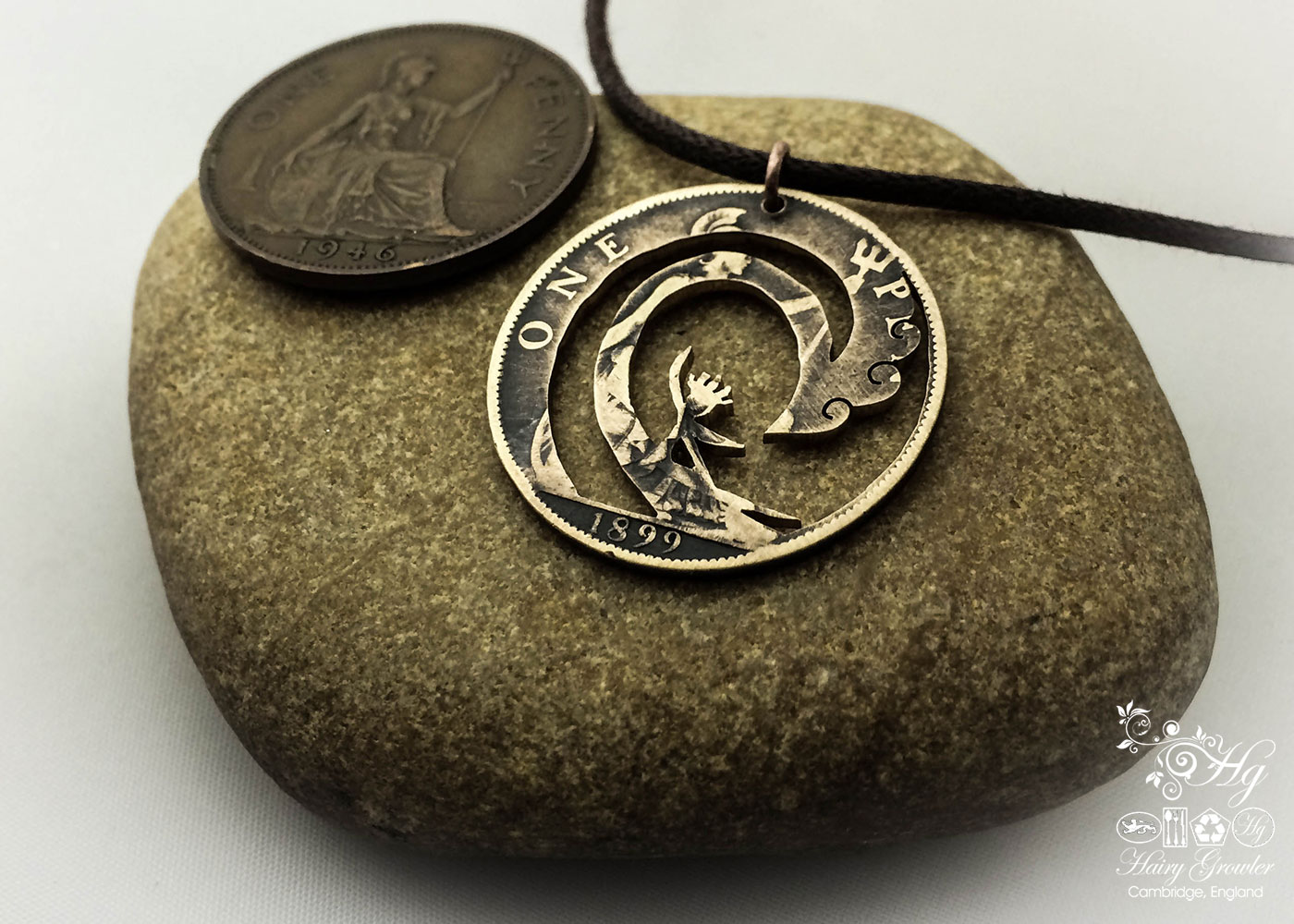 Handcrafted and recycled big wave surfer coin pendant necklace