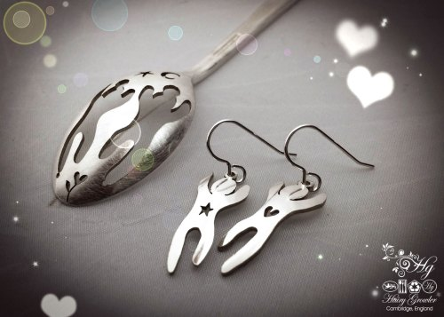 handcrafted and recycled spoon festival earrings