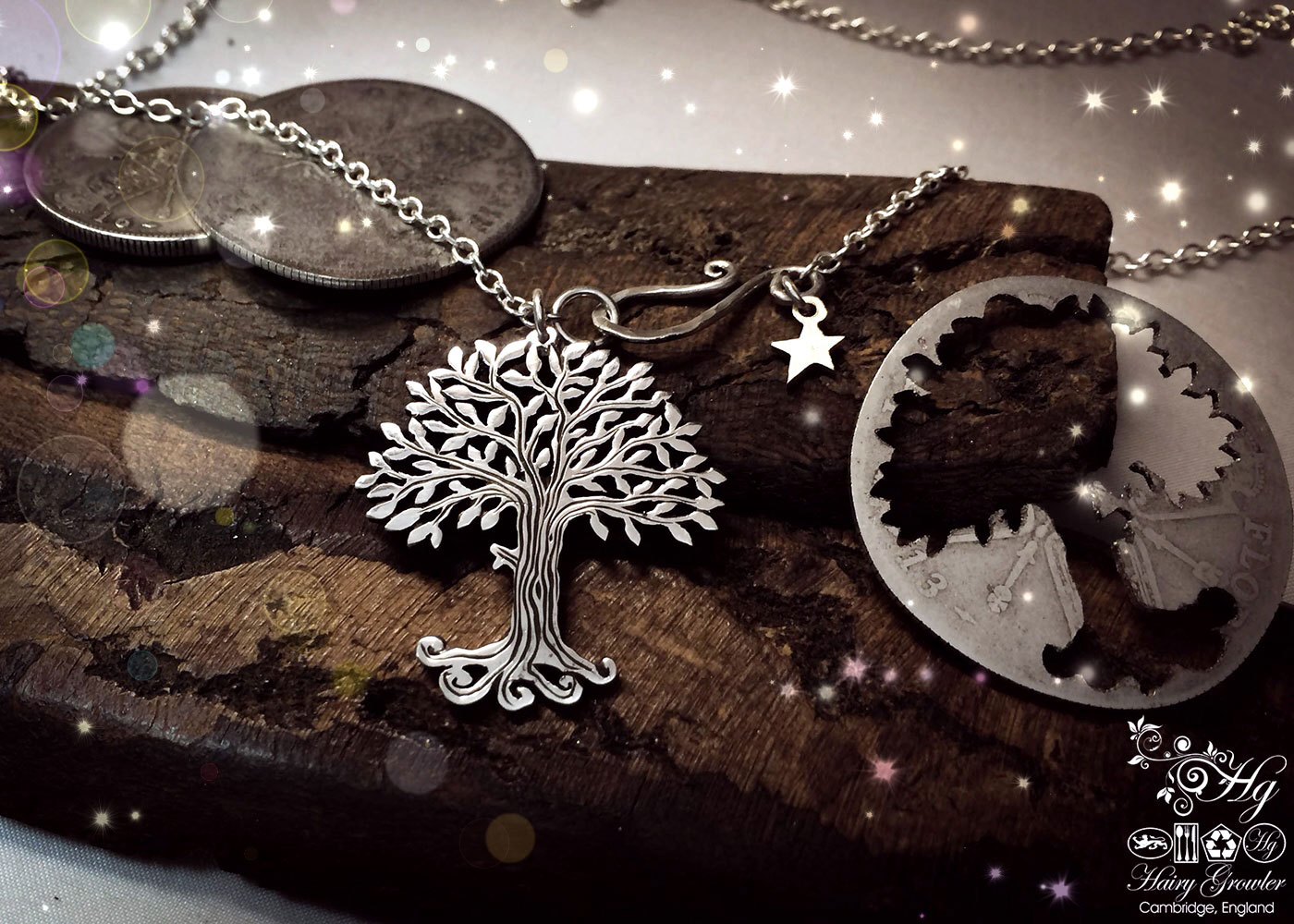Handmade and upcycled silver Summer trees with leaves of pure silver made from a silver coin