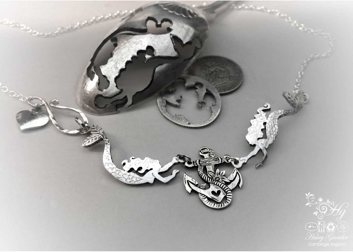 Hand made and upcycled silver coin mermaid necklace made in landlocked Cambridge, UK