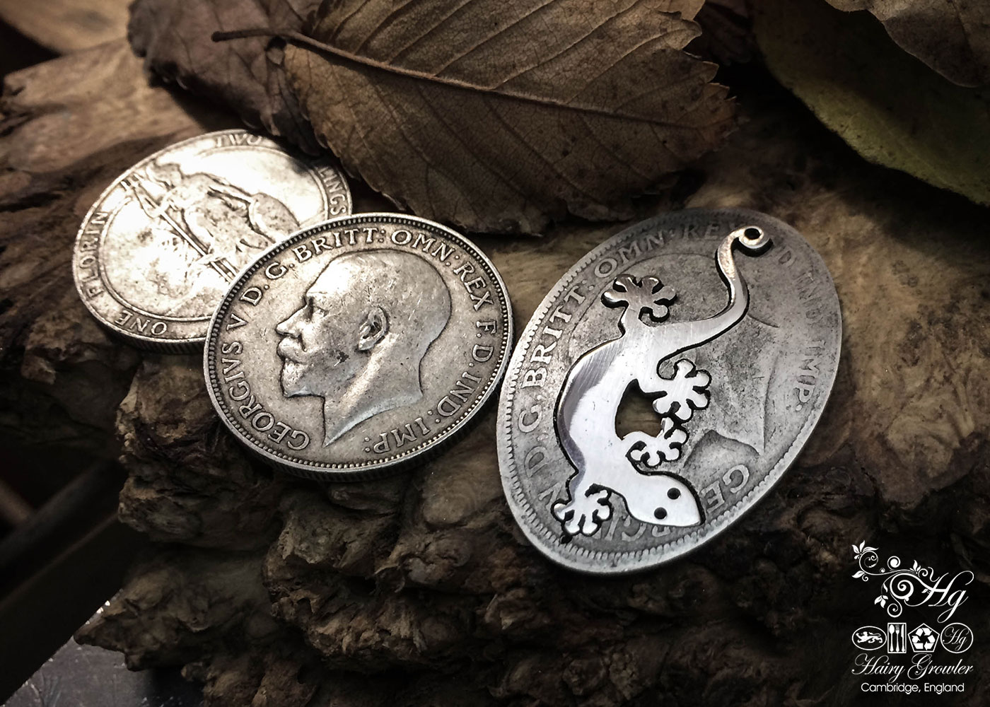 Handcrafted and recycled silver coin Gecko necklace pendant