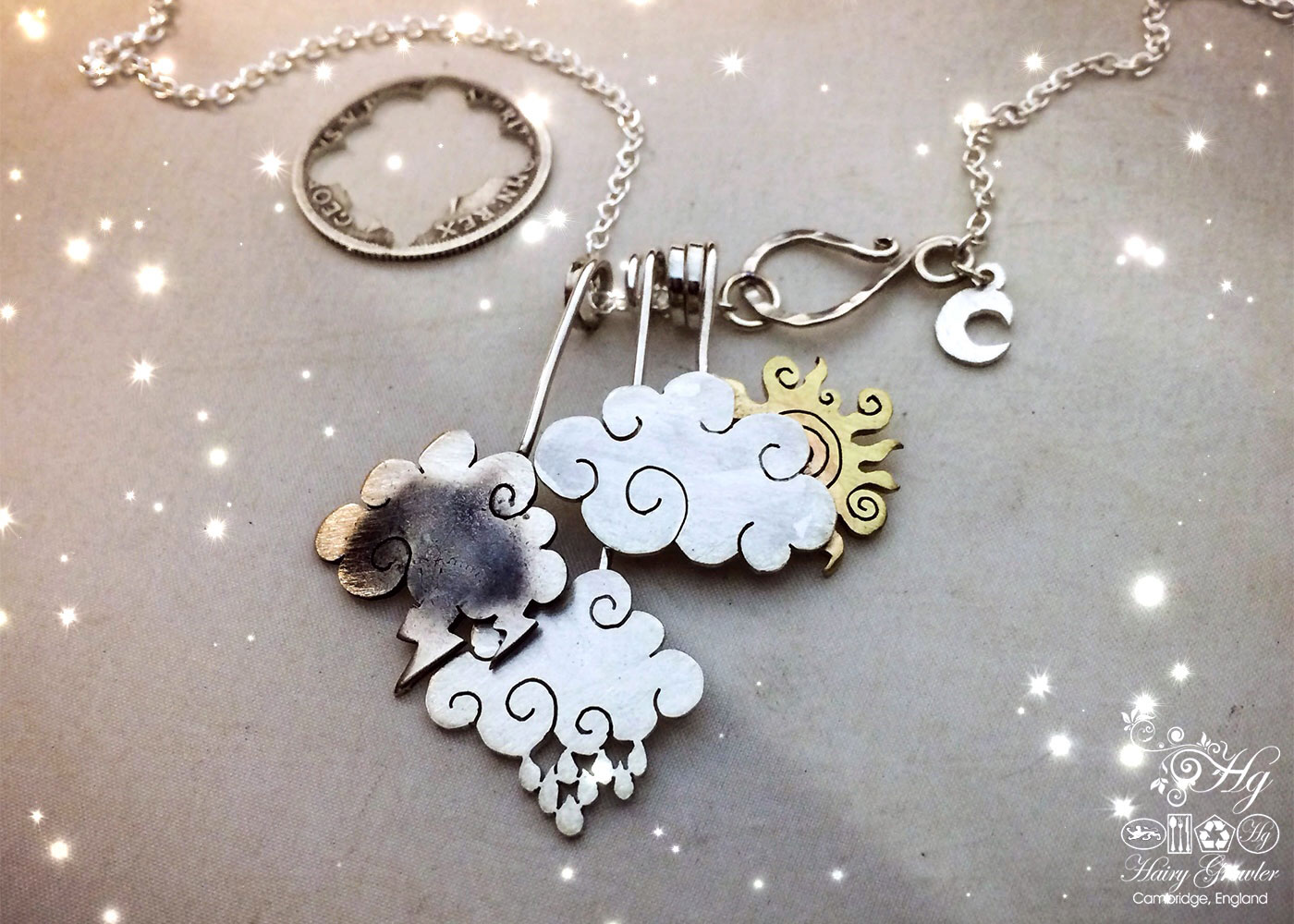 Upcycled silver coin cloud necklace made from silver shillings