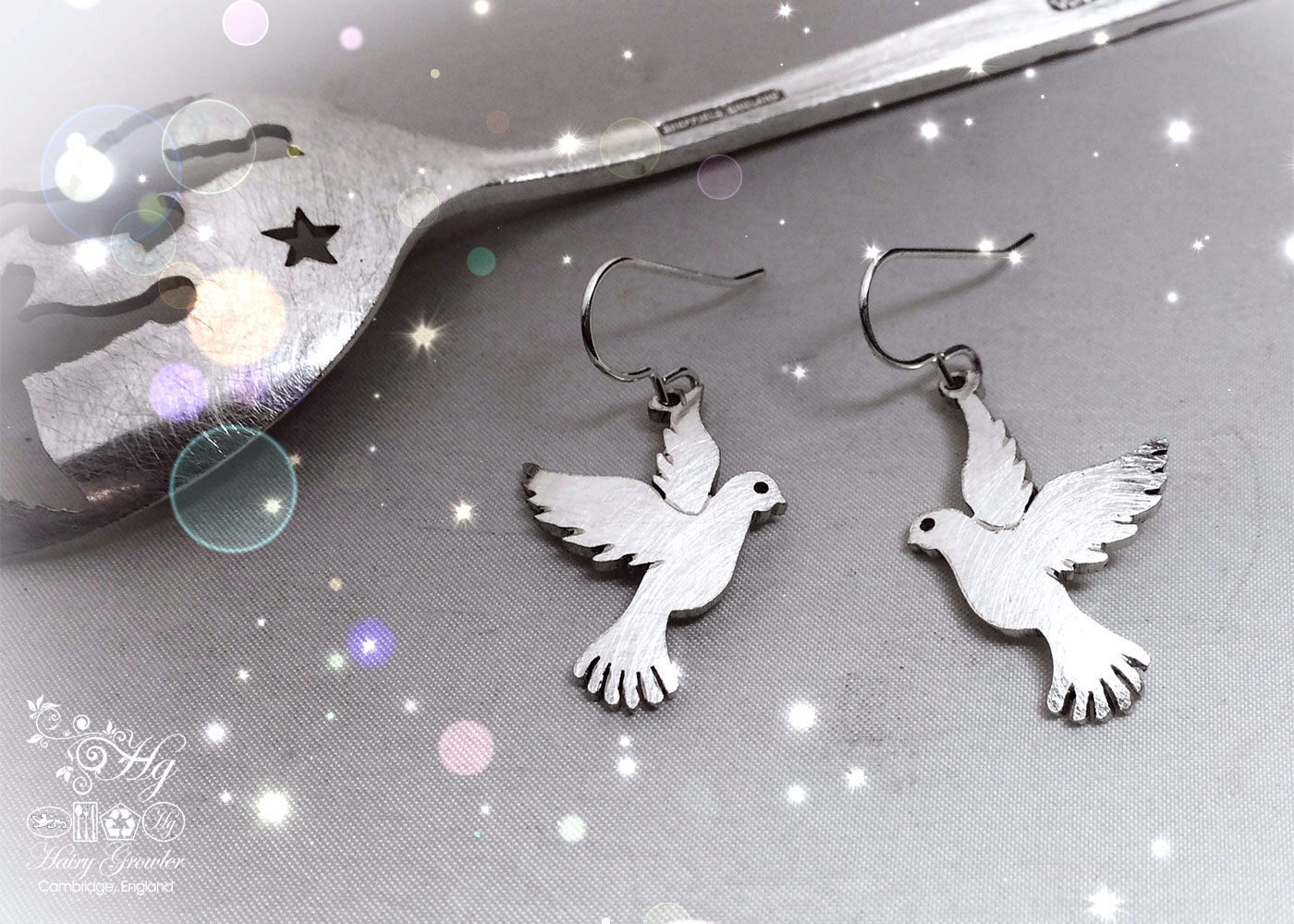 handcrafted and recycled spoon peace-dove earrings