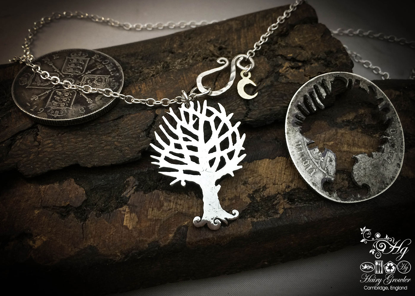 Handcrafted and recycled silver Autumn tree made from a silver coin