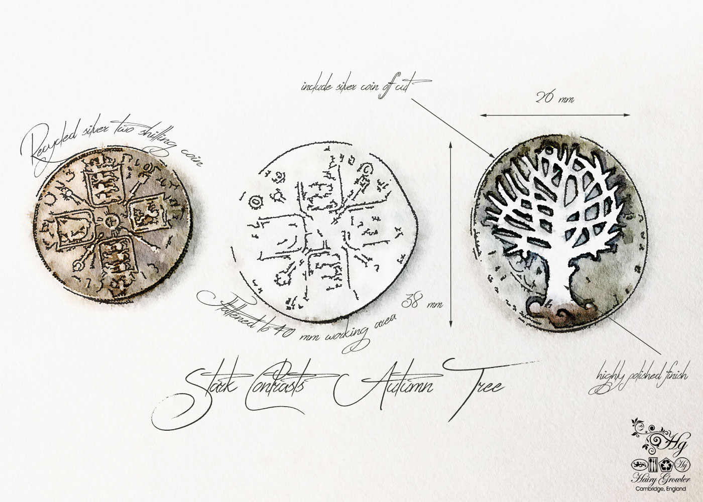 Made in England and recycled from a silver coin. Autumn tree necklace