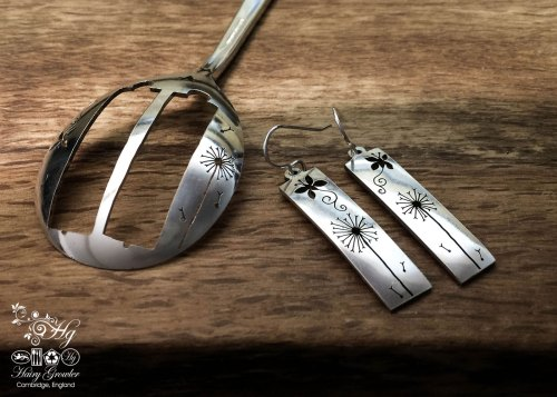 handcrafted and recycled spoon butterfly and dandelion clock earrings