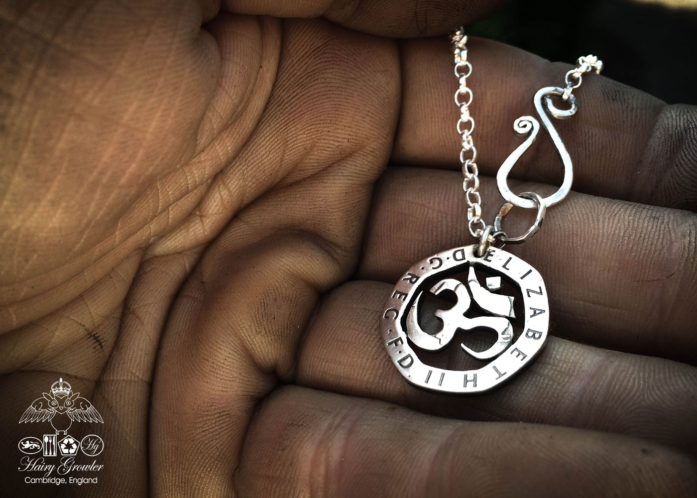 Handmade and repurposed om coin pendant necklace