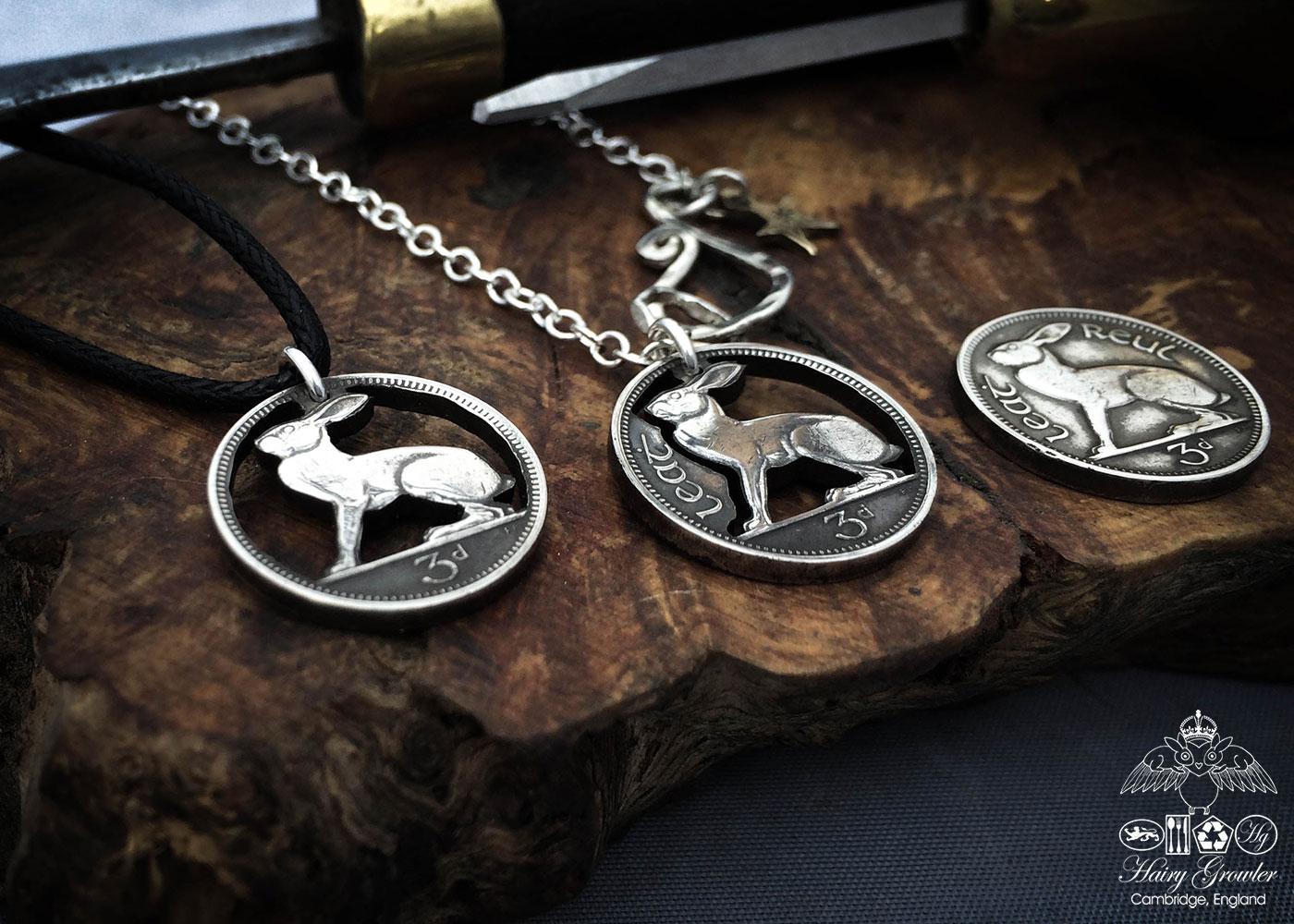 Irish hare coin jewellery. Hand-cut and carved Irish hare threepence coin pendant