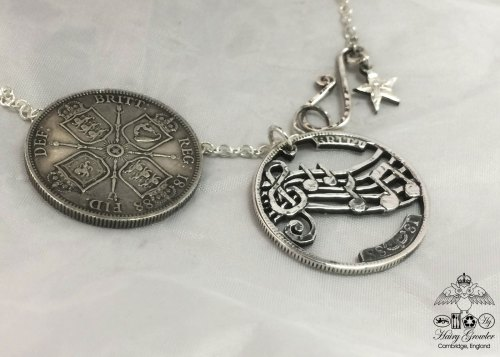 Handcrafted and recycled coin musical notes pendant necklace