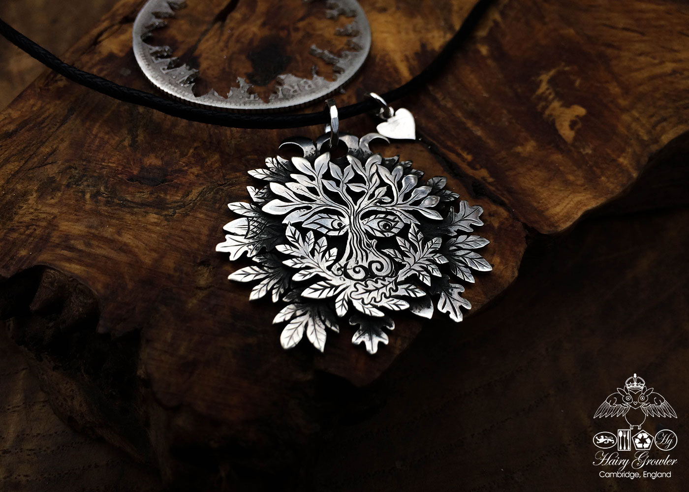Handcrafted and recycled silver triple moon greenman necklace