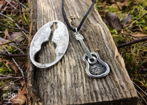 guit-box, acoustic guitar necklace - handmade and recycled using silver coins