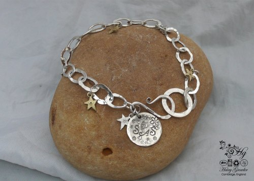 Personalised initials and stars bracelet individually handcrafted and recycled from an old Victorian silver coins