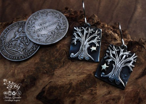 handcrafted and upcycled silver Georgian shilling tree-of-life earrings made in Cambridge