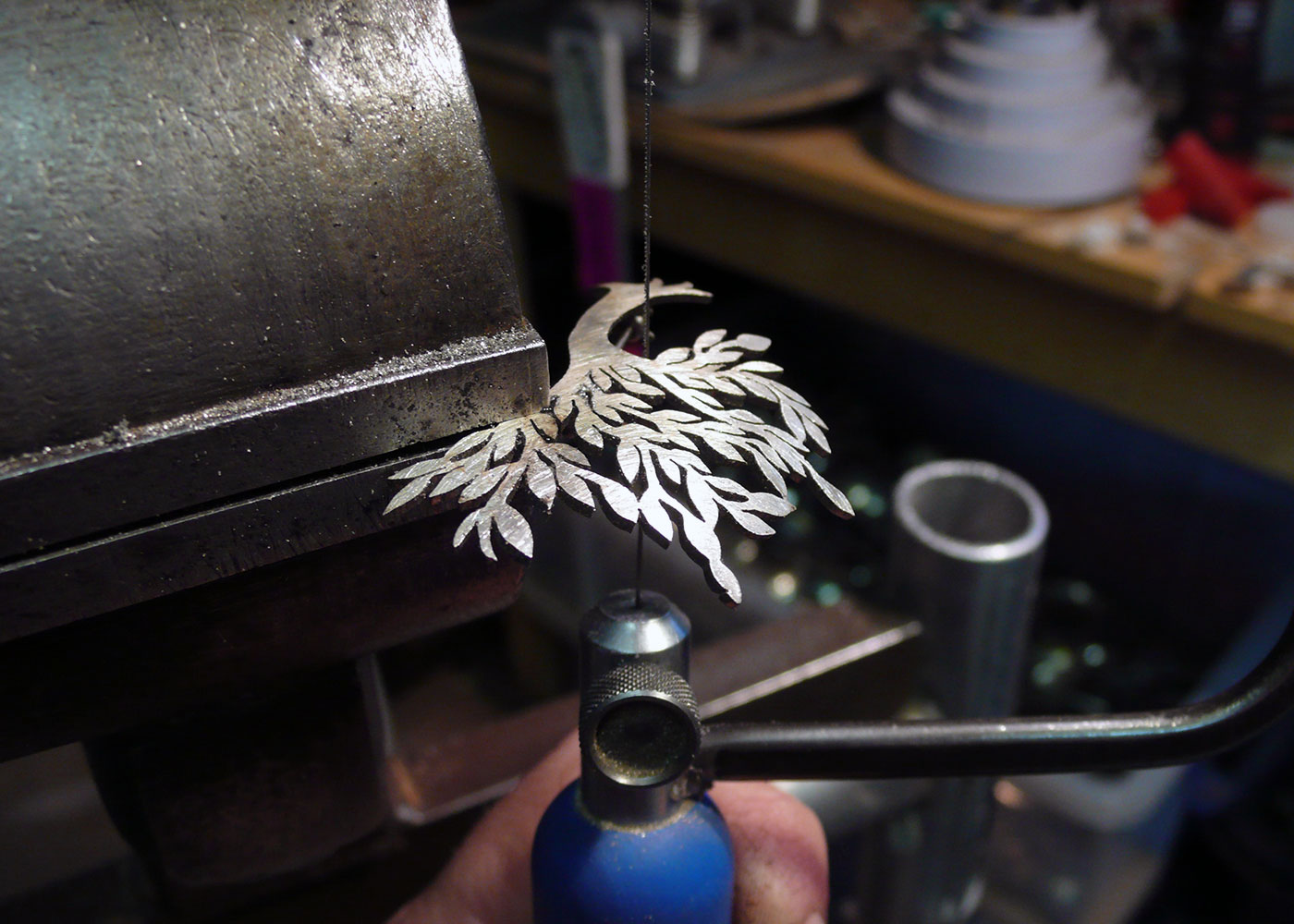 handcrafted and recycled spoon wind-blown-tree brooch