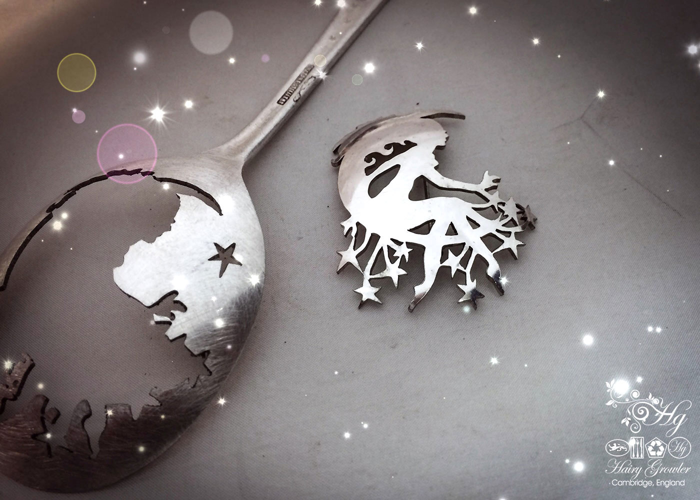 handmade and repurposed spoon star and moon girl brooch