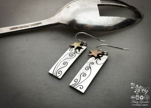 handmade and repurposed spoon star-dust earrings