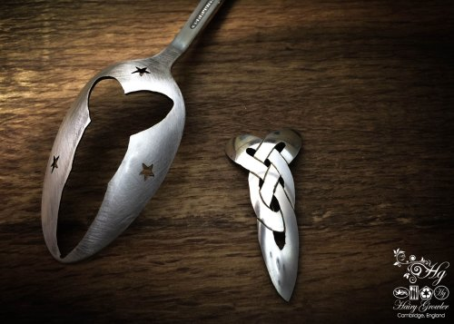 handmade and upcycled spoon celtic knot brooch