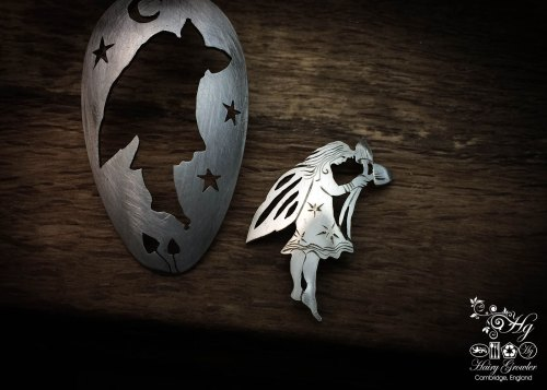 handmade and recycled spoon fairy brooches