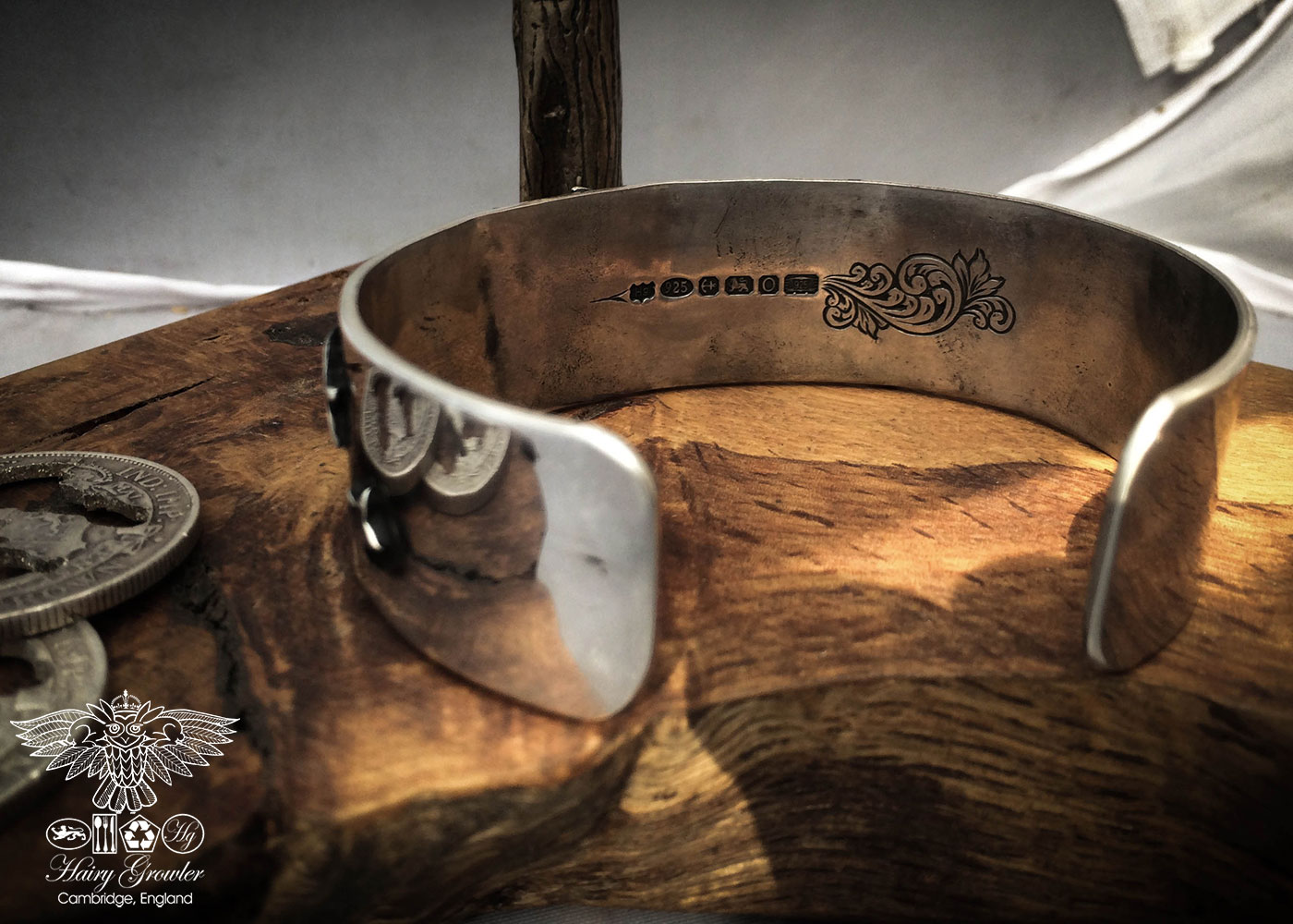 Handmade and upcycled silver kuff bracelet leaping and dashing hares