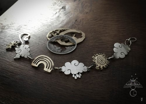 Weather amulet bracelet individually handcrafted and recycled from an old Victorian silver coins
