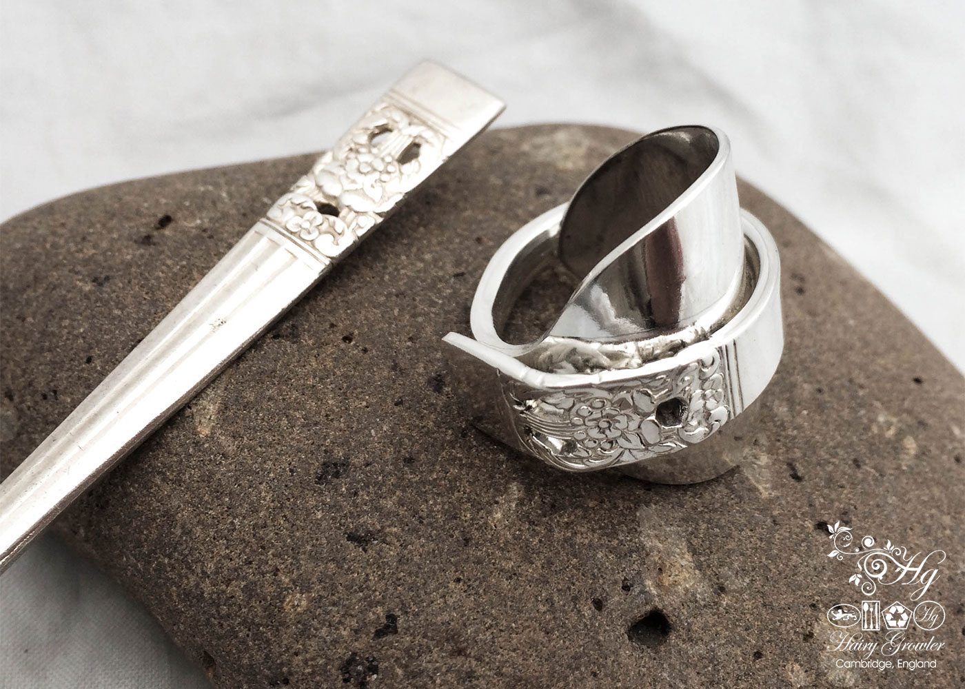 handcrafted and recycled spoon spoon rings