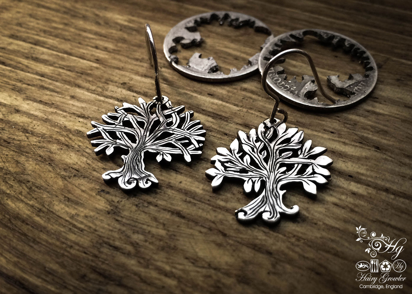 handcrafted and recycled silver Georgian shilling tree of life earrings made in Cambridge