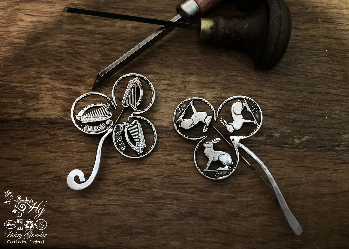 The Pennies from Heaven collection by Hairy Growler Jewellery, Cambridge, UK. Original Irish hare threepence coin triple hare brooch.