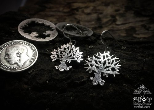 tree of life earrings handmade and upcycled silver Georgian shilling tree of life earrings made in Cambridge