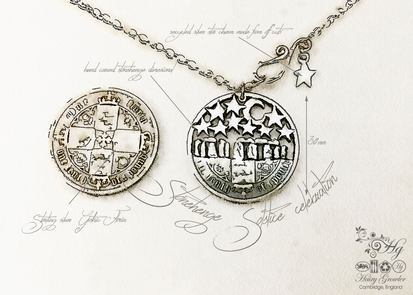 handcrafted and recycled summer solstice coin necklace pendant