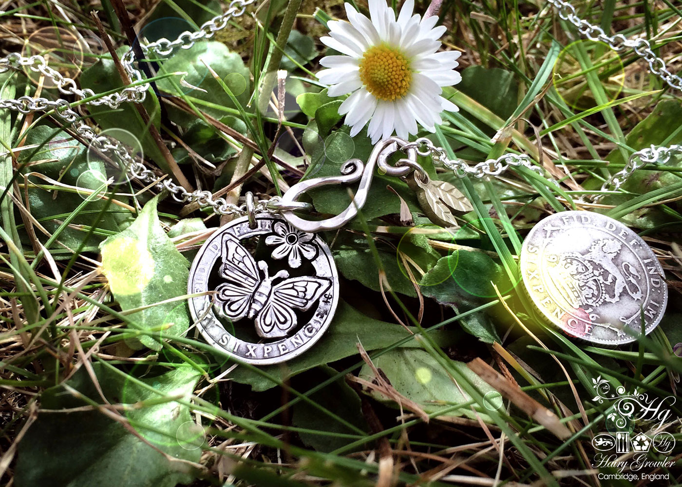 Handmade and repurposed solid silver sixpence coin Butterfly pendant necklace
