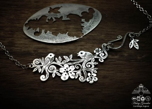 Handcrafted and recycled sterling silver 'bird song' necklace