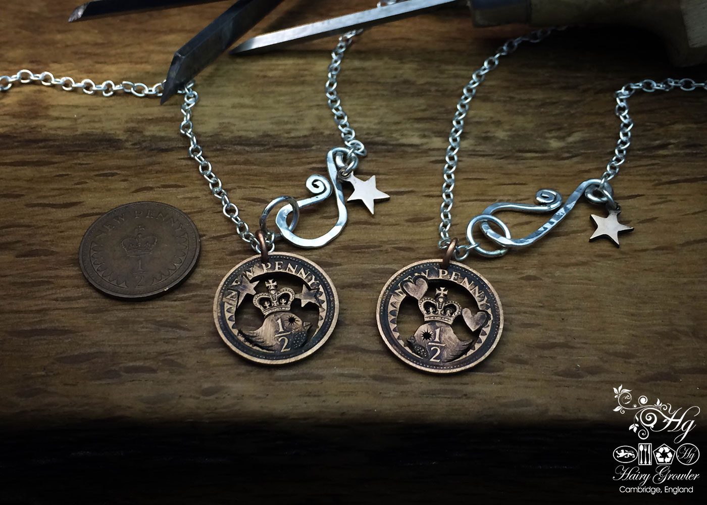 Hand cut halfpenny queen bird coin pendant necklace made in the Hg workshop