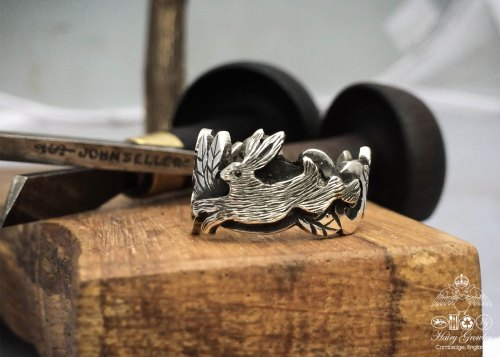 Handmade and upcycled, repurposed and recycled silver spoon bunny and bird ring