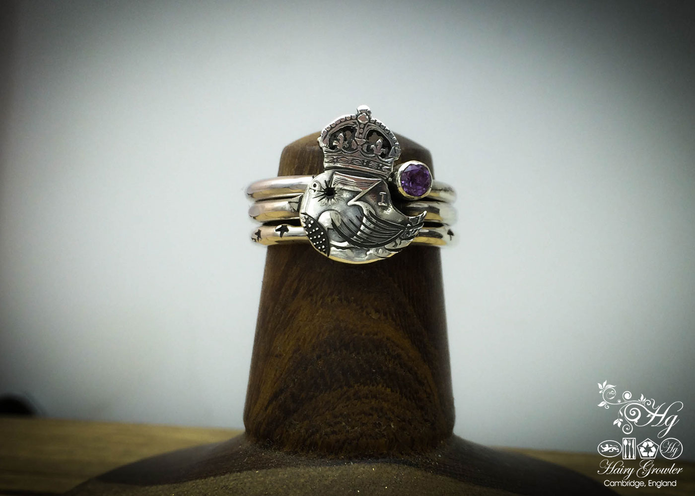 The 'teeny weeny bird queen' recycled silver threepence coin ring. Handcrafted and recycled silver bird ring