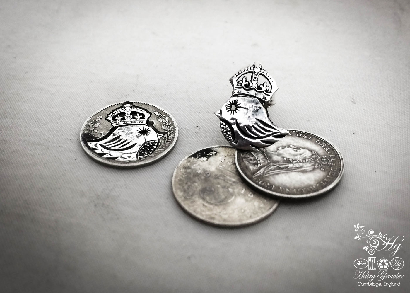 homemade and repurposeded silver threepence coin teeny weeny bird queen earrings