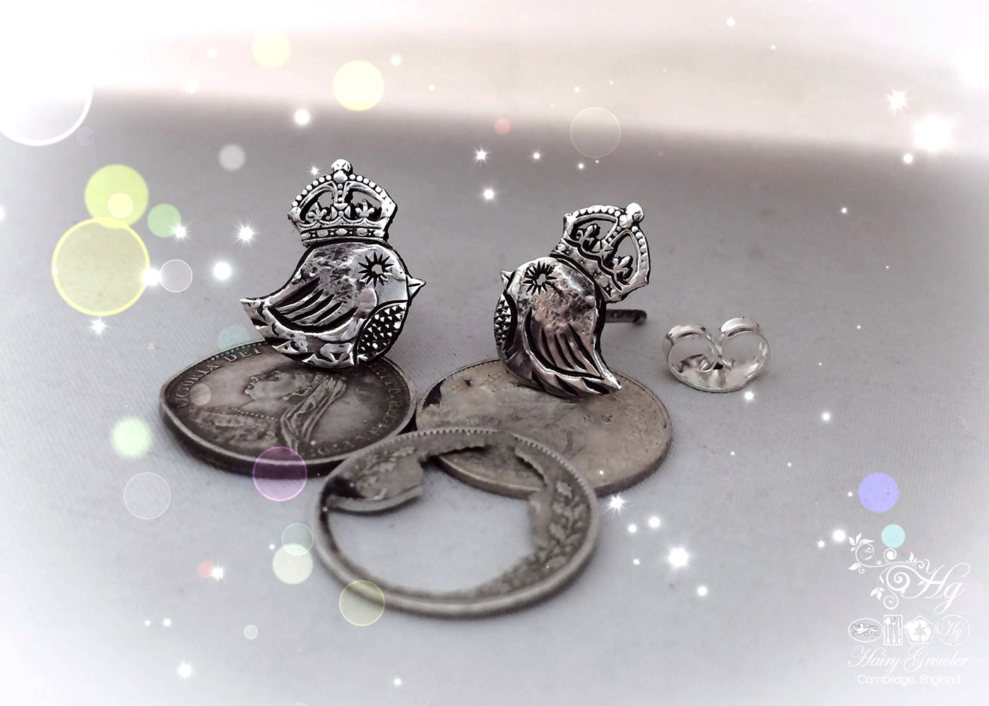handmade and upcycled silver threepence coin teeny weeny bird queen earrings