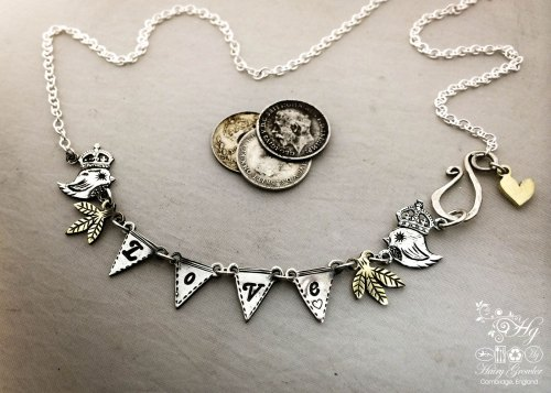 Handcrafted and recycled sterling silver coins 'teeny weeny queen bunting' necklace