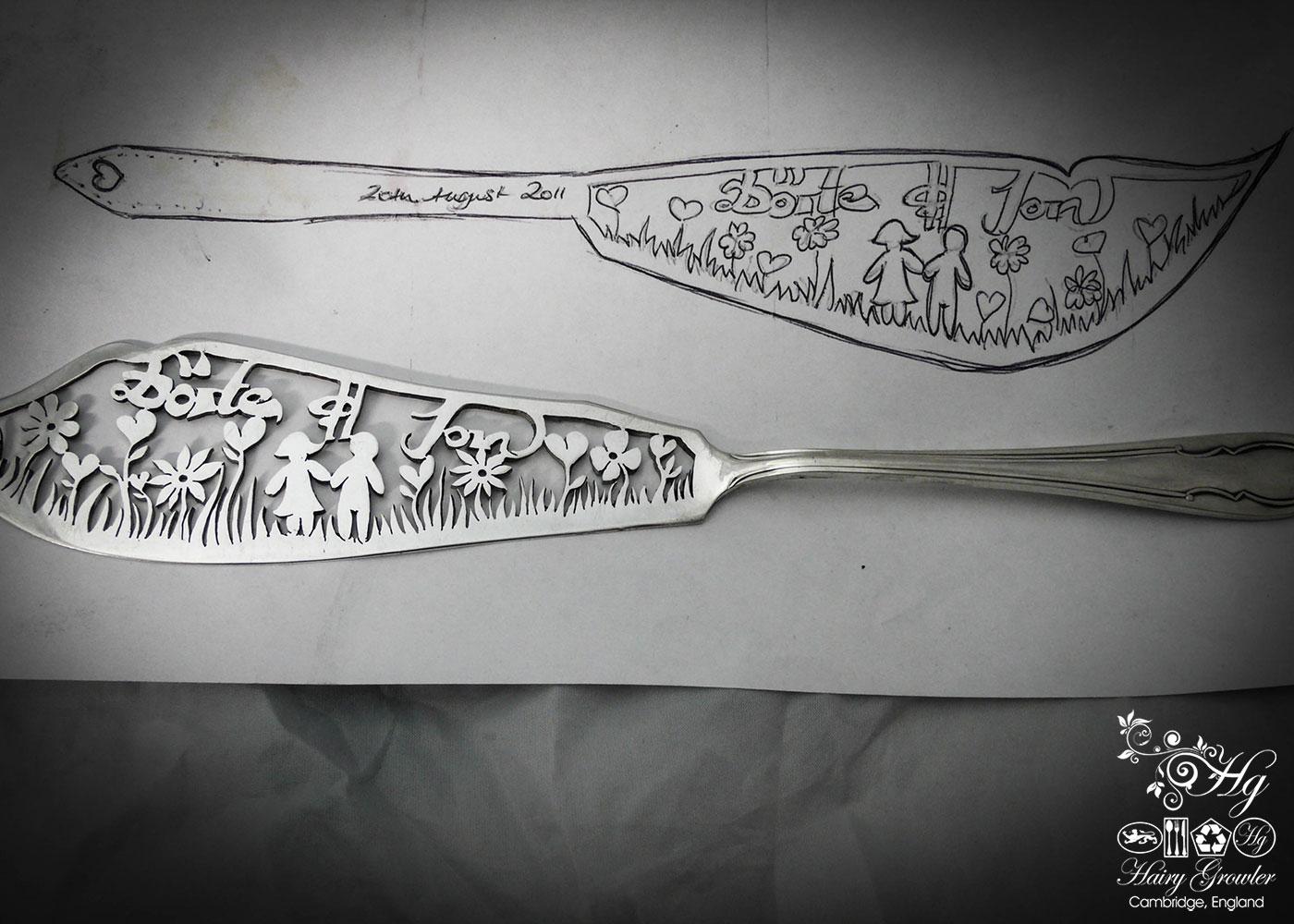handmade and recycled bespoke wedding-cake-knife