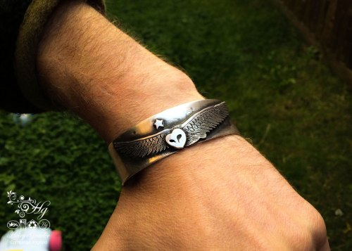 Handcrafted and recycled silver coin barn owl kuff bangle