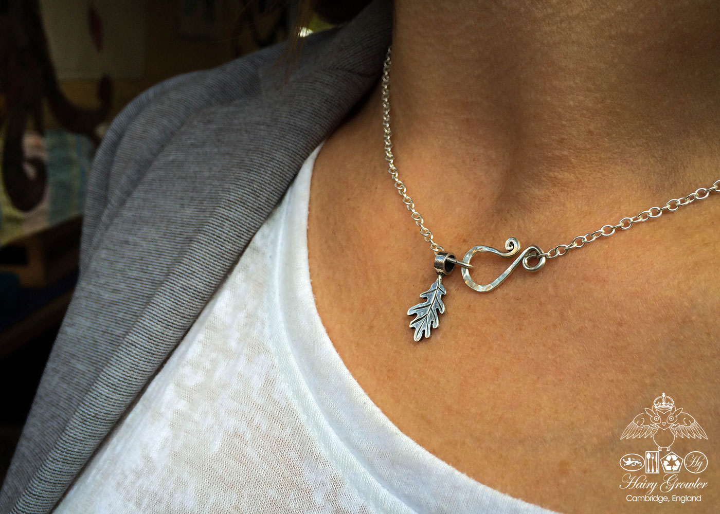 handmade and recycled silver coin oak leaf charm for a tree sculpture, necklace or bracelet