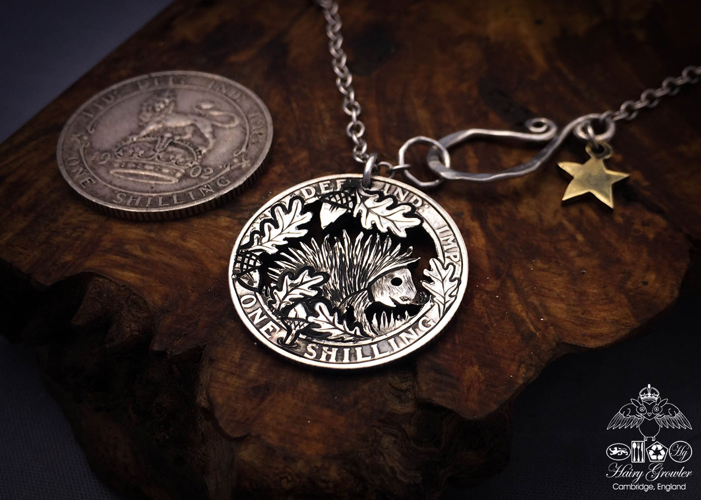 Handmade and recycled silver shilling The Silver Shilling collection. silver hedgehog necklace totally handcrafted and recycled from old sterling silver shilling coins. Designed and created by Hairy Growler Jewellery, Cambridge, UK. necklace