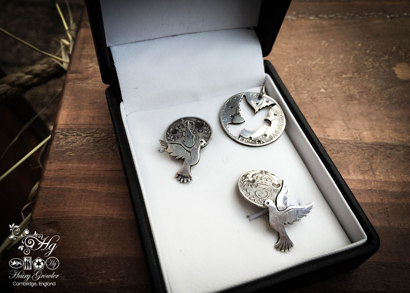 peace dove cufflinks handcrafted and recycled from sterling silver shillings and threepence coins